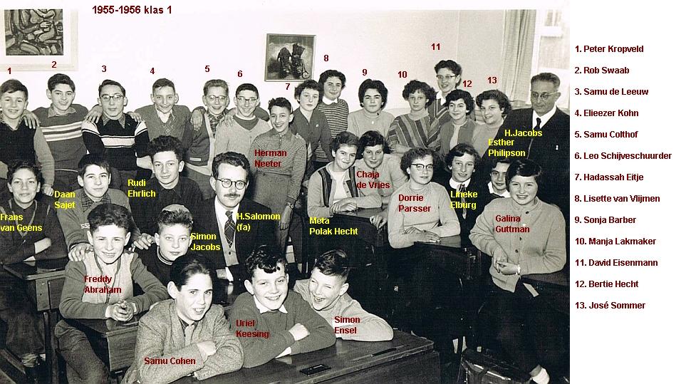 1955-1956-klas 1 met namen in foto